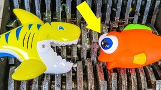 Giant Yellow Shark and Fish Toys Shredded! Colorful Squishy Animals Destroyed! What's Inside?