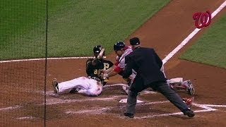 WSH@PIT: Zimmermann makes play at plate to save a run
