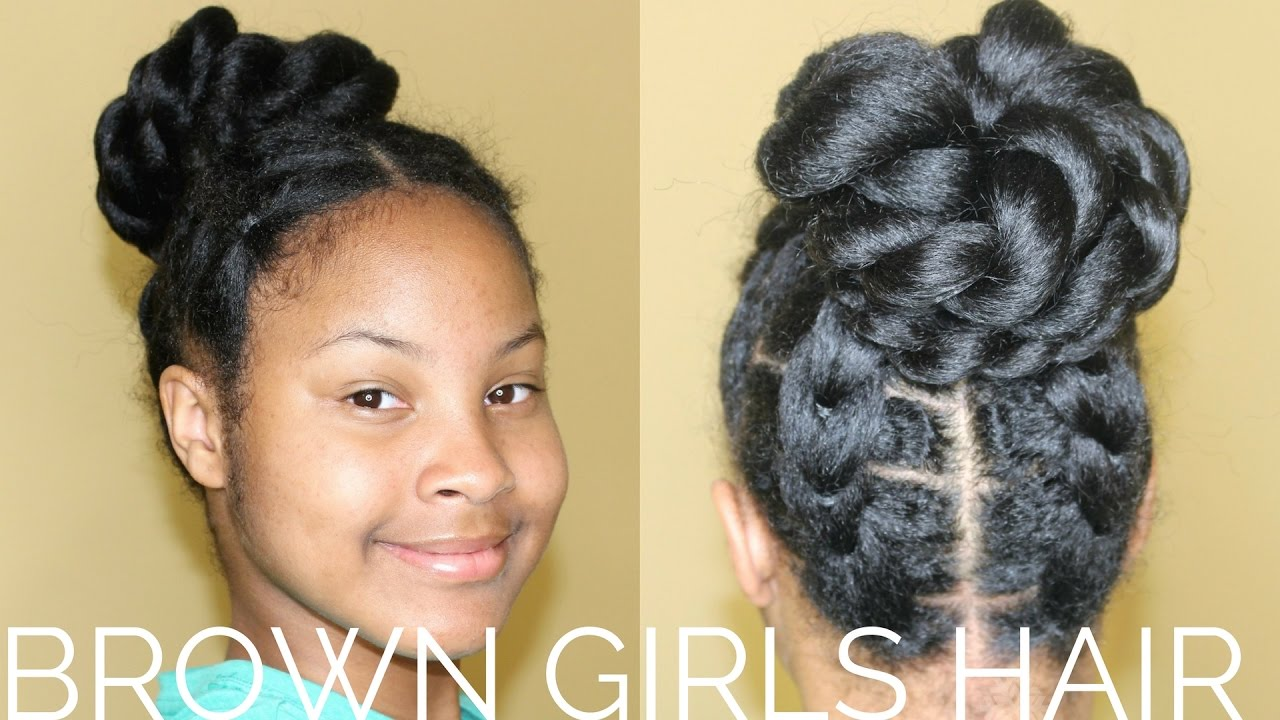 Fake Cornrows Updo Hairstyles For Kids Youtube