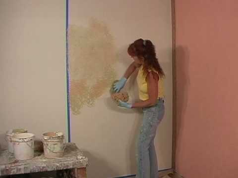 How to faux paint a blended sponge painting technique for How to sponge paint a wall without glaze