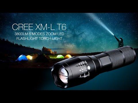 CREE XM-L T6 1-LED 3800LM 5 Modes Zoom LED Flashlight Torch Light