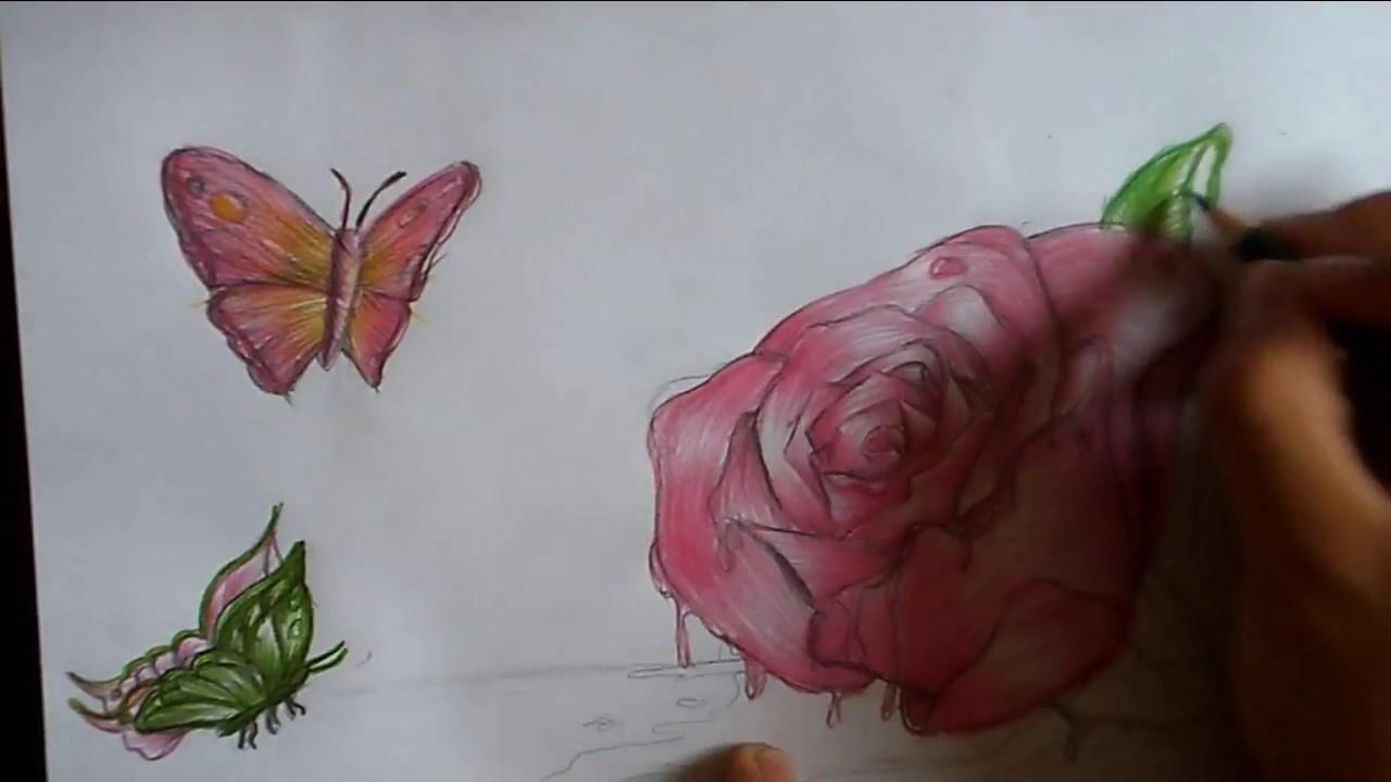 Como dibujar una rosa a color youtube - Como secar una rosa ...