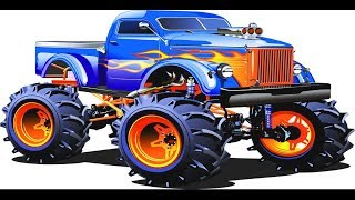 Colorful Game – Cartoon Monster Trucks Racing & Crashing, Trucks & Cars, Street Colors Kids Vehicles