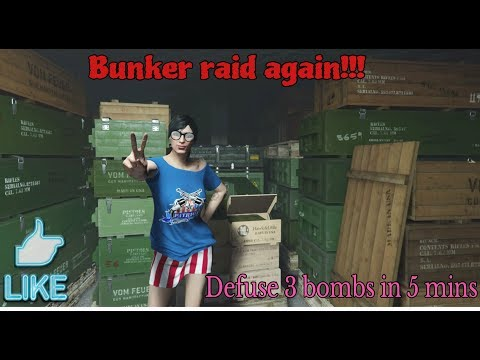 GTA online - Bunker Raid- Defuse 3 Bombs planted on the Truck in 5 mins
