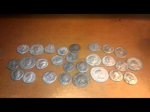 Silver coins from the ancient Roman Empire