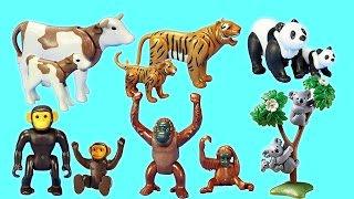 PLAYMOBIL Toy Wild Zoo Animals Collection For Kids - Tiger Panda Koala Gorilla