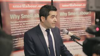 Ibrahim Dogus, chair of SME4LABOUR speaking at the launch reception in Parliament