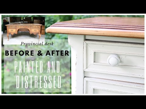 Painted and Distressed Furniture ~ Desk Makeover ~ Spray Painted Furniture ~ DIY Makeover