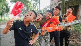 Battle Nerf War: Salesman Nerf Guns Robber Group ICE CREAM BATTLE