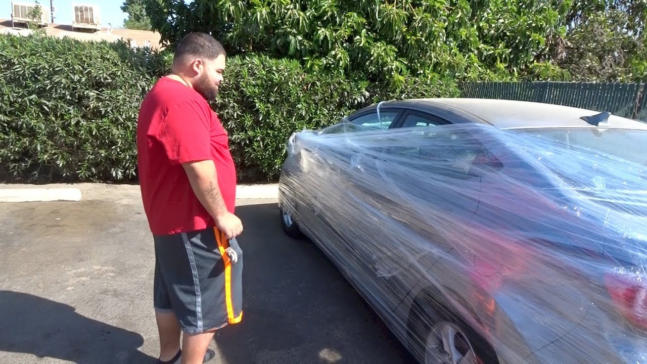 Saran Wrap Car: BRUH ALWAYS SLIPPIN!!! (SMH) SARAN WRAP CAR PRANK LMAO
