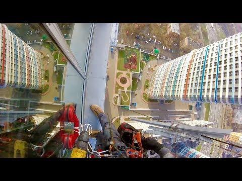 35 этаж алюминиевые окна - монтаж альпинистами