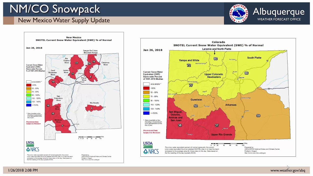 January 2018 New Mexico Water Supply Outlook Youtube