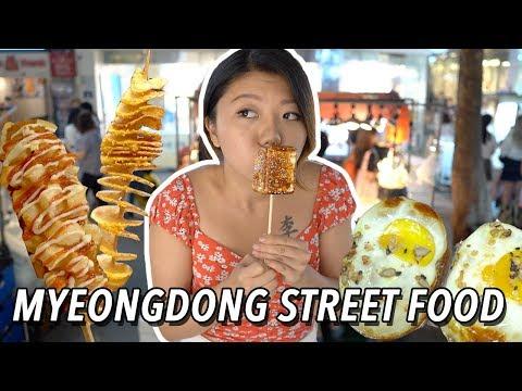 KOREAN STREET FOOD in Myeongdong 🧀🥔 Seoul Night Market Street Food Tour