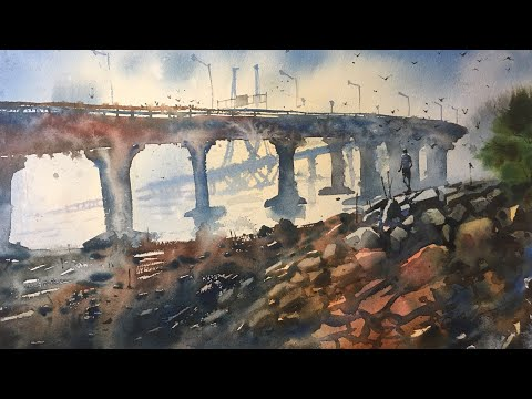 Watercolor painting of Bandra Worli sea link | Painting tips and trics by Prashant Sarkar.
