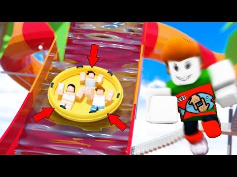 ウォータースライダーを逆走する危険なプール遊びロブロックス【Roblox】