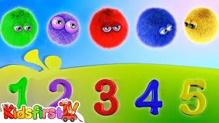 Zeem Zoom - Kids Cartoons in 3D - 5 Color Furry Balls! {学会与毛茸茸的球计数}