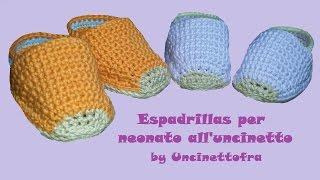 scarpine espadrillas per neonato all'uncinetto tutorial