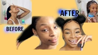 My NATURAL Haircare/Style SPACE BUNS/MakeupLook!