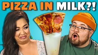 PIZZA MILK CHALLENGE | Adults Vs. Food