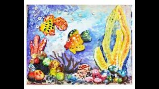 """Поделки из соленого теста  своими руками. Панно """"Золотая рыбка"""". Видео урок для детей 4-8 лет."""