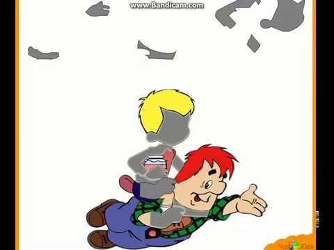 Развивающая игра Собери картинку из частей - Малыш и Карлсон составлена для малышей