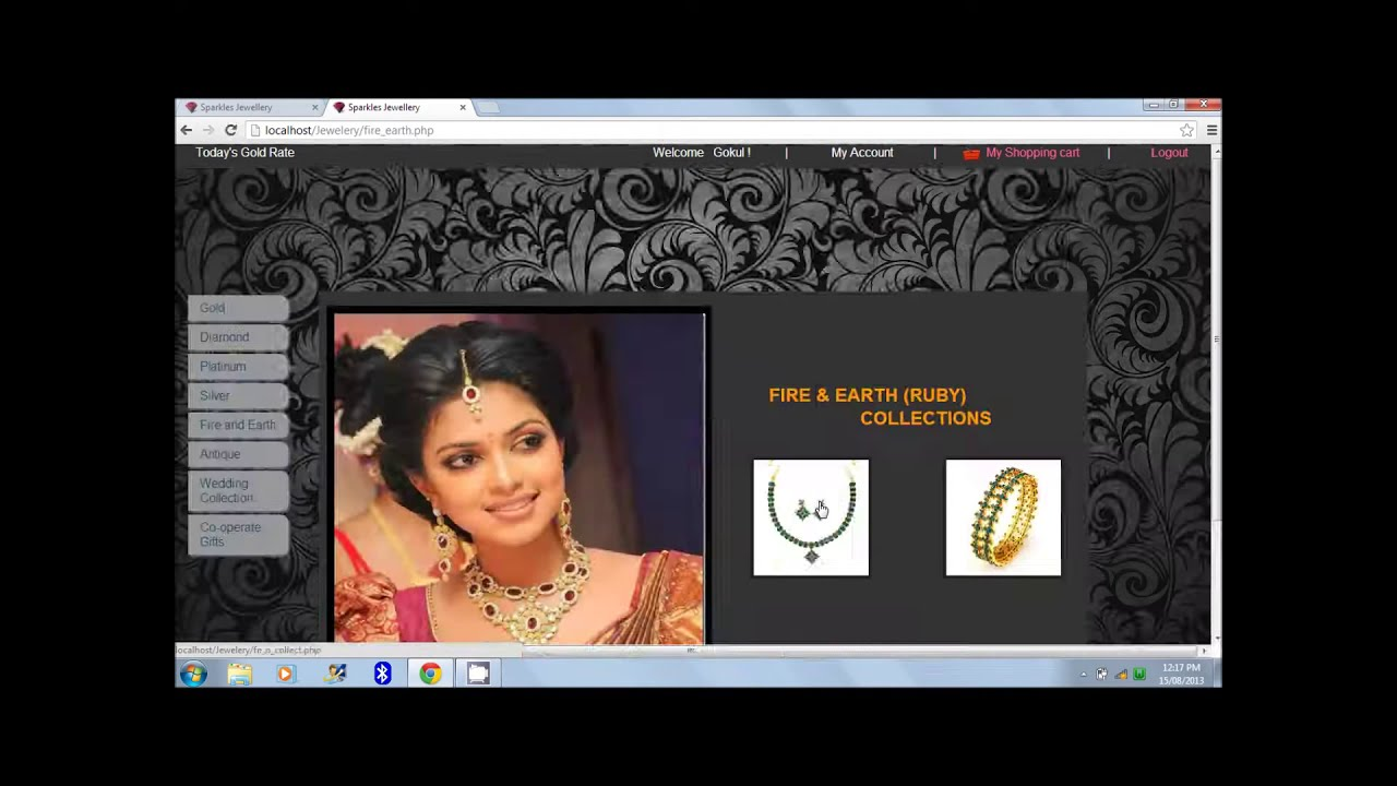 Online jewellery shopping website project using php part for Online websites for shopping
