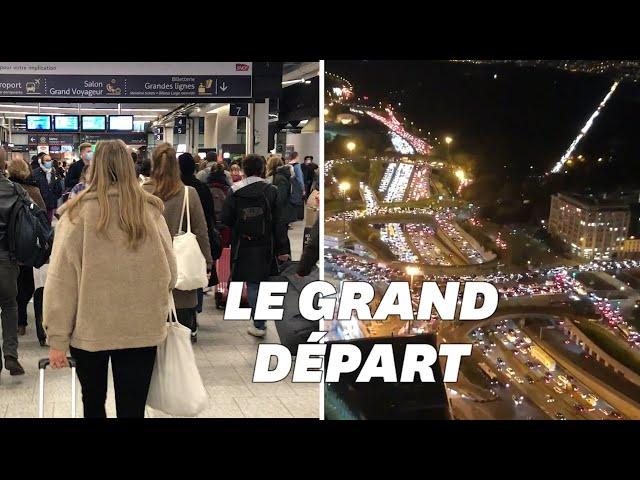 Confinement: 700km de bouchons à la sortie de Paris, la Gare Montparnasse prise d'assaut