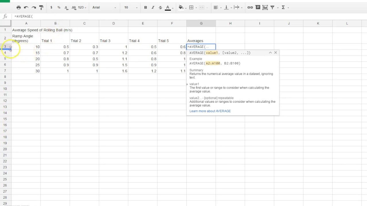 Standard Deviation In Sheets