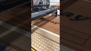 Custom U-TEAK marine kit being CNC machined by U-DEK Marine USA in North Kingstown, RI