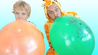 Lev Alice and Dad fun playtime kids play with balloons