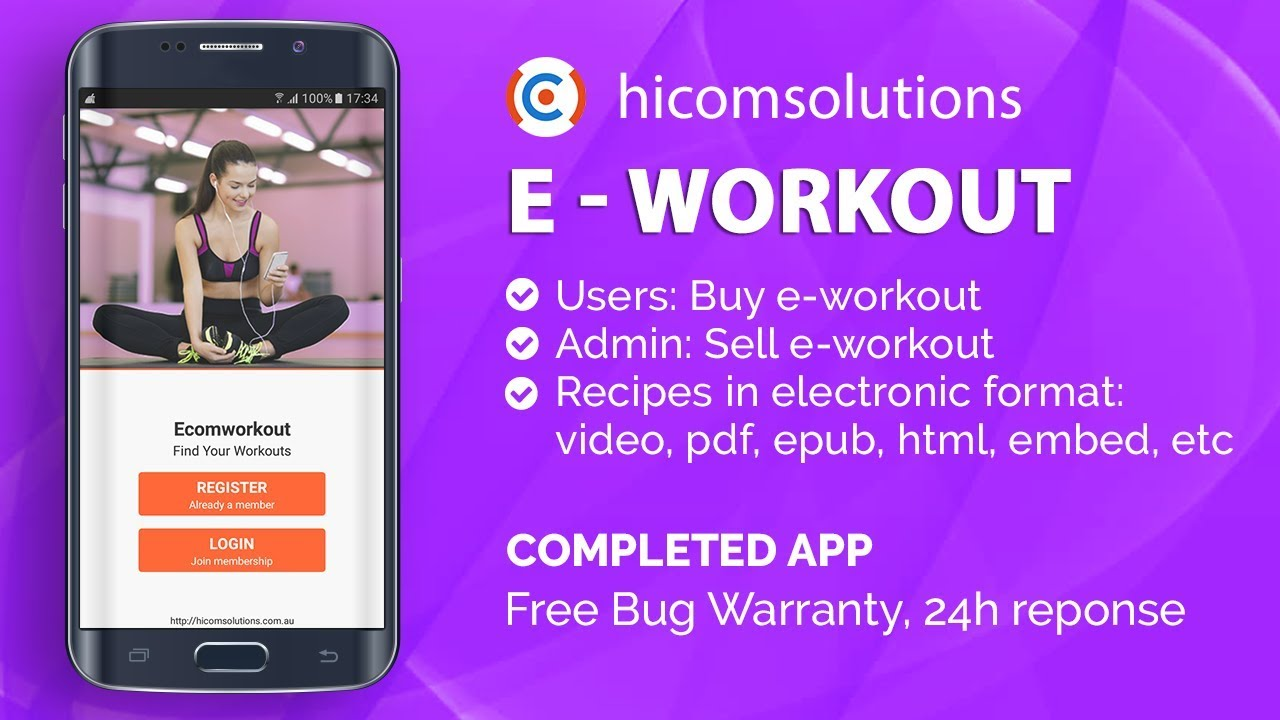 android demo workouts fitness mobile app template script source