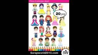 Prince and princess clipart vector pack clip art
