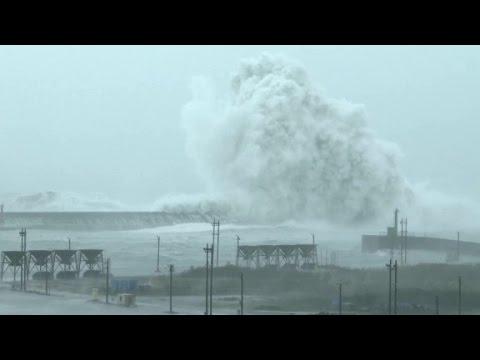Massive waves, wind, slam Taiwan