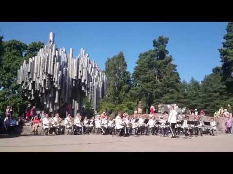Finnish Guards Band play Finlandia at the Sibelius monument, Helsinki