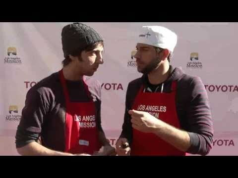 Christmas 2010: Zachary Levi and Joel David Moore at the Los Angeles Mission