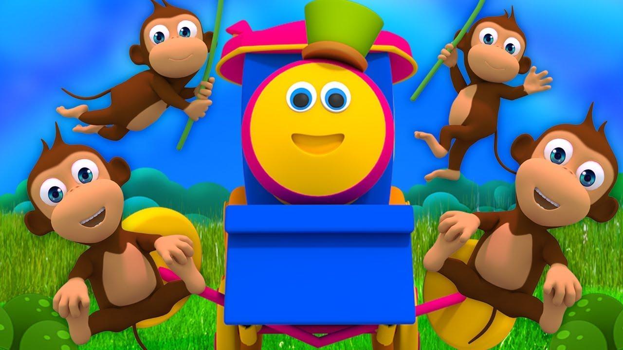 Download Bob Zug   Fünf kleine Affen   Kinderreime für Kinder   Affe reime auf Deutsch   Five Little Monkeys
