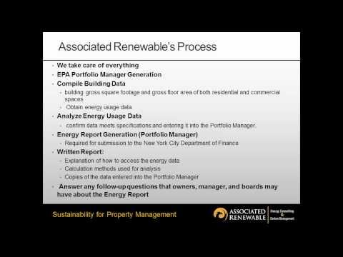Energy Benchmarking: Local Law 84 - Associated Renewable