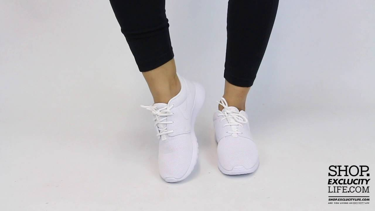 timeless design b3f2f 32d77 Women s Nike Roshe One Triple White On feet Video at Exclucity - YouTube