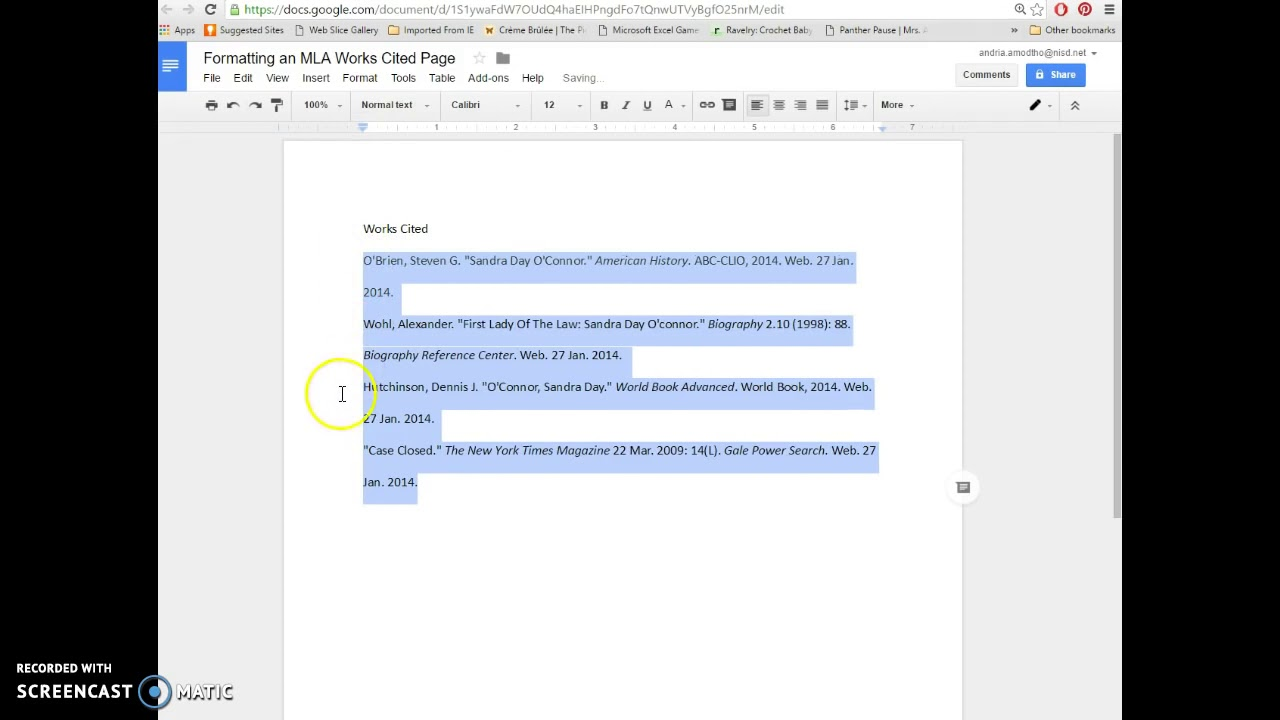 formatting an mla works cited page in google docs youtube