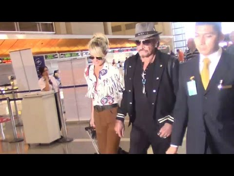 X17 EXCLUSIVE: Johnny Hallyday And Wife Laeticia Coordinate In Southwest-Inspired Attire