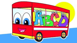 Repeat youtube video The Wheels On The Bus | Red Bus Version | Nursery Rhymes | HD