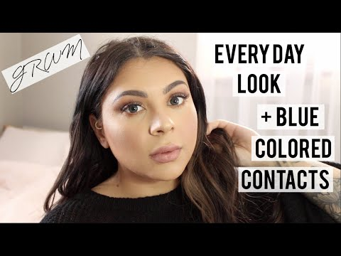 Chatty GRWM | My Everyday Makeup Look + Trying On Blue Colored Contacts