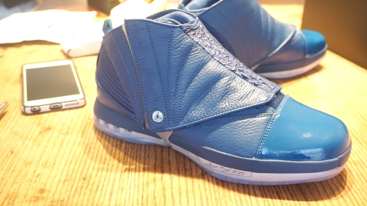 Air Jordan 16 Trophy Room French Blue (Bleu Francais) Unboxing Review and  On Foot - YouTube