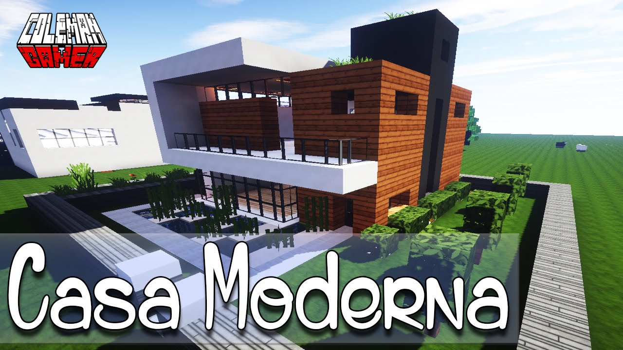 Minecraft como hacer una casa moderna youtube for Casa moderna minecraft 0 12 1