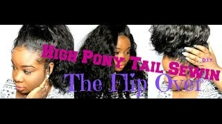 ♥Flip Over High Pony-Tail Sewin  D.I.Y  EASY!!