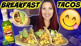 MUKBANG BREAKFAST TACOS WITH RECIPE BURPING VEGAN