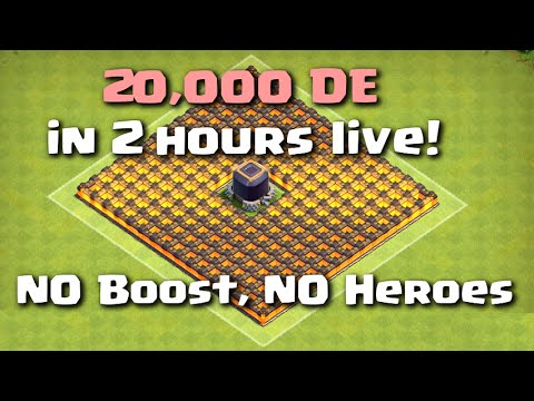 Clash of Clans - 20,000 DE in 2 Hours Live NO BOOST NO HEROES (Best Strategy)