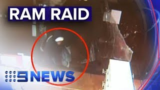 Would-be thieves ram raid Telstra store | Nine News Australia