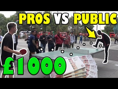 TABLE TENNIS PROS vs PUBLIC!! WIN GET £1000!!!