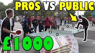 TABLE TENNIS PROS vs PUBLIC!! WIN GET £1000!!!